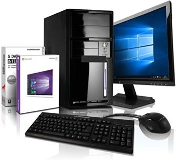Komplett Flüster-PC Paket Intel Quad-Core Office/Multimedia shinobee Computer mit 3 Jahren Garantie! inkl. Windows10 Professional - INTEL Quad Core 4x2.41 GHz, 8GB RAM, 500GB HDD, Intel HD Graphics, USB 3.0, HDMI, VGA, Office, 22-Zoll LED TFT Monitor, Tastatur+Maus #5001 - 1