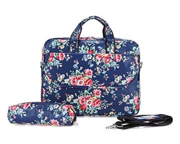 Laptoptasche Tasche für Laptop / Notebook Notebooktasche Blau Blume 13 Inch - 1