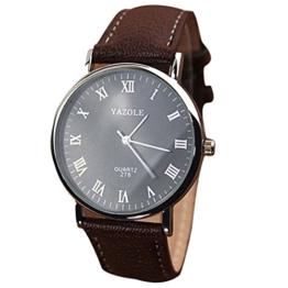 Mens-Quarz-analoge Uhren - YAZOLE Herren Armbanduhr Luxusmode Kunstleder Mens-Quarz-analoge Uhren, Braun Schwarz - 1