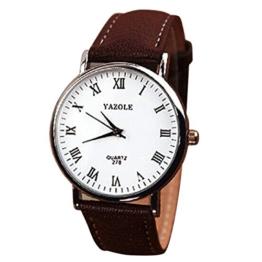 Mens-Quarz-analoge Uhren - YAZOLE Herren Armbanduhr Luxusmode Kunstleder Mens-Quarz-analoge Uhren, Braun Weiss - 1
