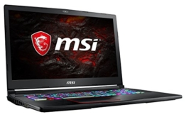 MSI GE73VR 7RF-042DE Raider (43,9 cm/17,3 Zoll/120Hz) Gaming-Notebook (Intel Core i7-7700HQ, 16GB RAM, 256 GB SSD +  1 TB HDD, Nvidia GeForce GTX 1070, Windows 10 Home) schwarz GE73 - 1
