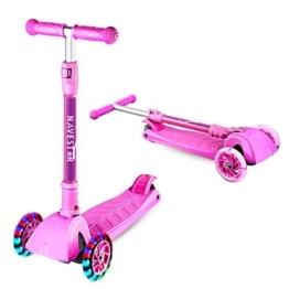 Navestar Kinderscooter Faltbar Tretroller Kinder Scooter mit 3 Räder ab 3-8 Jahre alt, Rosa - 1