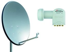 Opticum X80 Satelliten-Antenne (80 cm, Stahl - anthrazit, TÜV zertifiziert, mit Quad LNB LQP-04H) - 1