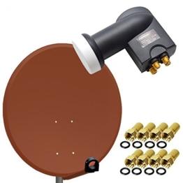 PremiumX Digital SAT Anlage 80 cm Stahl Schüssel Spiegel Antenne Ziegelrot + PremiumX Quad LNB PXQS-SE 0,1dB für 4 Teilnehmer + 8 F-Stecker 7mm vergoldet - 1