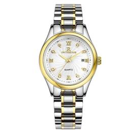 RuiZhiYuan Damen Quarz Uhren Kalenderanzeige Wasserdicht Edelstahl Saphirlinse Business Armbanduhr Uhr(Gold - Weiß) - 1