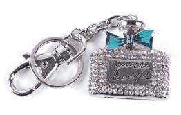 Schlüsselanhänger,Taschenanhänger Charmanhänger Parüfum Flasche mit Strass mit Schlüsselring ,Karabiner Damen Kinder Anhänger (Blau) - 1