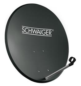 SCHWAIGER -135- Satellitenschüssel, Sat Antenne mit LNB Tragarm und Masthalterung, Sat-Schüssel aus Stahl, 55 x 62 cm - 1