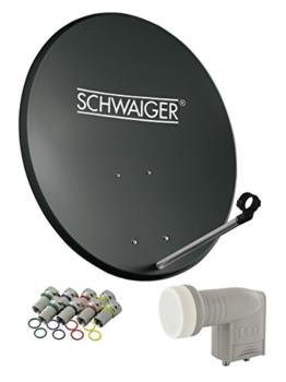 SCHWAIGER -487- Sat Anlage, Satellitenschüssel mit Twin LNB (digital) & 8 F-Steckern 7 mm, Sat Antenne aus Stahl, Anthrazit, 55 x 62 cm - 1