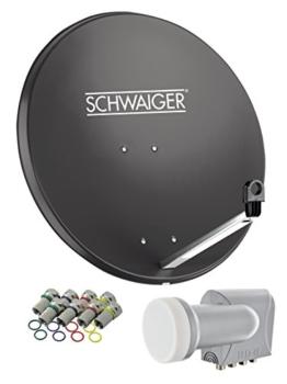 SCHWAIGER -517- Sat Anlage, Satellitenschüssel mit Quad LNB (digital) & 8 F-Steckern 7 mm, Sat Antenne aus Stahl, Anthrazit, 75 x 85 cm - 1