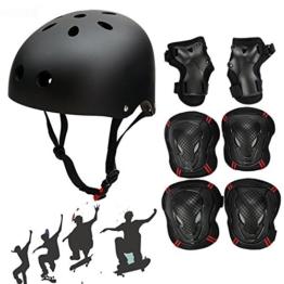 Skateboard Protektoren Set mit Helmet, SymbolLife BMX Helmet Knie Pads Elbow Pads mit Handgelenkschoner für Skate, Fahrrad, Skateboard, Roller Skate und anderen Extreme Sports Kinder - 1