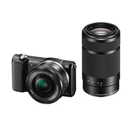 Sony Alpha 5000 Systemkamera (Full HD, 20 Megapixel, Exmor APS-C HD CMOS Sensor, 7,6 cm (3 Zoll) Schwenkdisplay) schwarz inkl.  SEL-P1650 & SEL-55210 Objektiv - 1