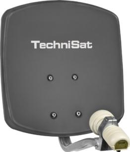 TechniSat DIGIDISH 33 - Satelliten-Schüssel, 33 cm Spiegel mit Wandhalterung und Universal V/H Single-LNB (Ein Teilnehmer) grau - 1