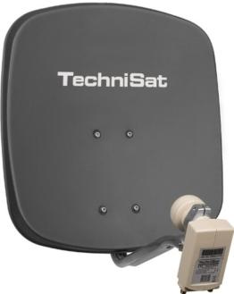 TechniSat DIGIDISH 45 - Satelliten-Schüssel, 45 cm Spiegel mit Wandhalterung und Universal Twin-LNB (Zwei Teilnehmer) grau - 1