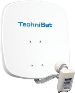 TechniSat DIGIDISH 45 - Satelliten-Schüssel, 45 cm Spiegel mit Wandhalterung und Universal Twin-LNB (Zwei Teilnehmer) weiß - 1