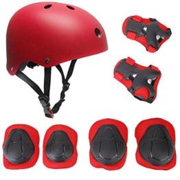 Topfire Kinder Scooter Hoverboard BMX Bike Helm, Hand-Knie, Ellenbogen Pads und Gel Pads - Rote - 1