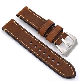 Uhrenarmband Modische Herren Damenuhr Uhrband das Armband Ersatzuhr Gurtel hält Watch Strap Riemen Kalbsleder 20mm 22mm 24mm Lederarmband Ersatz-Armbanduhr Uhren Zubehör Watch Band 22mm braun - 1