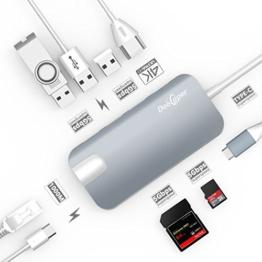USB C Hub (8-in-1)Dootoper Type C Hub mit 3 USB 3.0 Ports, 4K HDMI Port, Ethernet-Port(1000Mbit/s), SD-Kartenleser, Micro SDHC und USB C Ladeanschluss, für Geräte mit USB Typ C wie MacBook Air, MacBook Pro, Mac Mini, Google Chromebook 2016(Space Gray) - 1