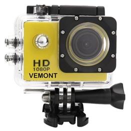 Vemont 1080p 12MP Action Kamera Full HD 2,0 Zoll Bildschirm 30m/98 Fuß Wasserdichte Sports Kamera mit Zubehör Kits für Fahrrad Motorrad Tauchen Schwimmen usw (Gelb) - 1