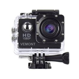 Vemont 1080p 12MP Action Kamera Full HD 2,0 Zoll Bildschirm 30m/98 Fuß Wasserdichte Sports Kamera mit Zubehör Kits für Fahrrad Motorrad Tauchen Schwimmen usw (Schwarz) - 1