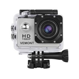 Vemont 1080p 12MP Action Kamera Full HD 2,0 Zoll Bildschirm 30m/98 Fuß Wasserdichte Sports Kamera mit Zubehör Kits für Fahrrad Motorrad Tauchen Schwimmen usw (Silber) - 1