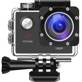 Victure Action Kamera 12MP 1080P FHD Sport Action Camera Cam Wasserdichte Helmkamera Unterwasserkamera mit 170 Weitwinkel, 1050mAh Akku und kostenlosen Zubehör Kit - 1