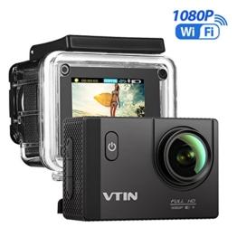 VTIN Action Kamera WIFI 2,0 Zoll, VTIN Full HD 1080P Sport Action Camera Cam Wasserdicht 170 ° Weitwinkel mit 2 Verbesserten Batterien und Zubehör Kits - 1