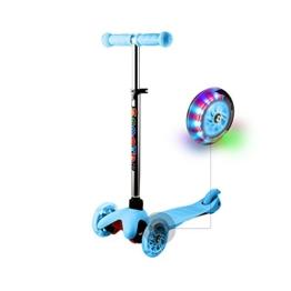 WeSkate Kinder 3 Räder Roller Scooter mit LED Blinken und Verstellbare Lenker, Aluminiumlegierung Kinderroller Tretroller Dreiräder für Junge Mädchen ab 2-7 jahre (Blau) - 1