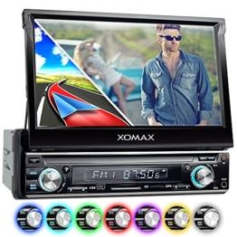 XOMAX XM-VRSUN740BT Autoradio mit GPS Navigation + Bluetooth Freisprechfunktion + 7 Zoll / 18cm Touchscreen Display in 16:9 HD + USB (bis 128 GB) + SD (bis 128 GB) + Anschlüsse für Subwoofer, Rückfahrkamera & Lenkradfernbedienung + Single DIN (1DIN) / Moniceiver / Naviceiver + inkl. Europa Karten 38 Länder - 1