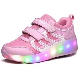 Zombies Jungen Mädchen Roller Skate Schuhe mit Rädern Licht, Pink-One Wheel, 37 EU - 1